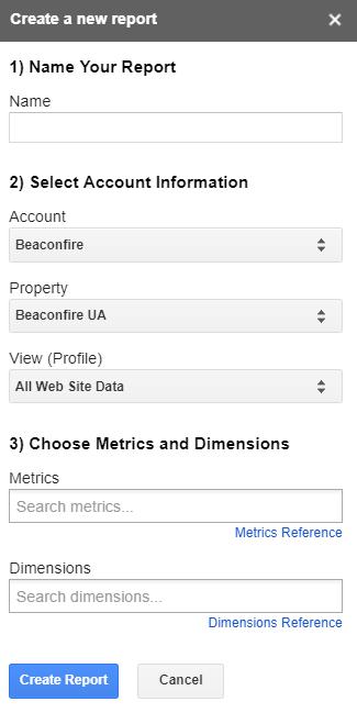 Create a new report GA screenshot