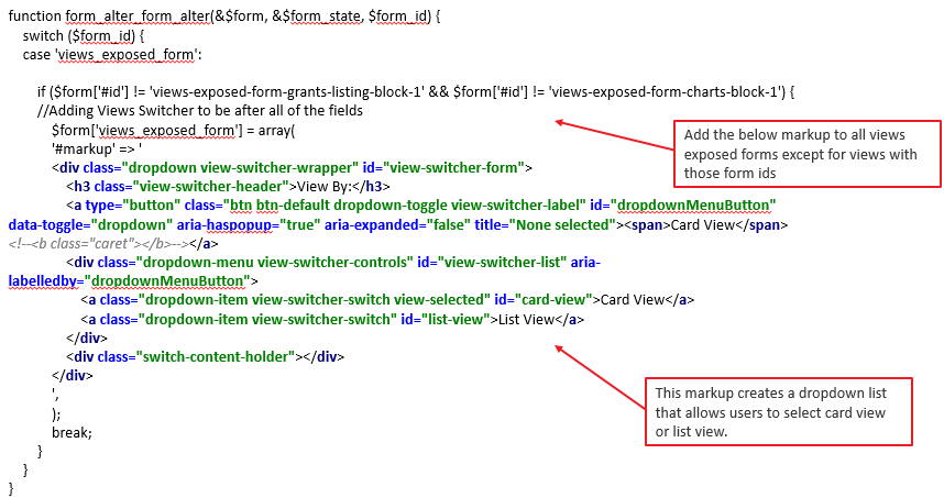 View Switcher html markup added via a form alter hook