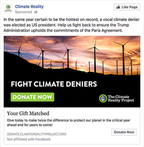 Climate Reality Facebook Ad
