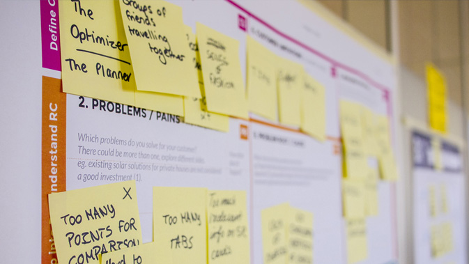 Post-it-notes on a board