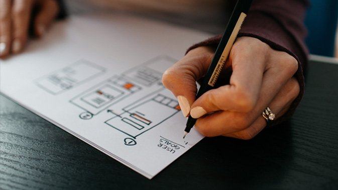 picture of someone creating wireframe
