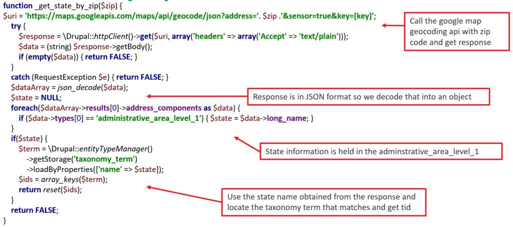 getStateByZip function code