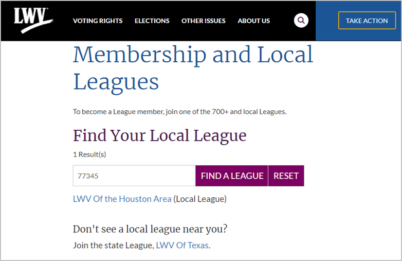 Shows successful zip code search and state league displayed