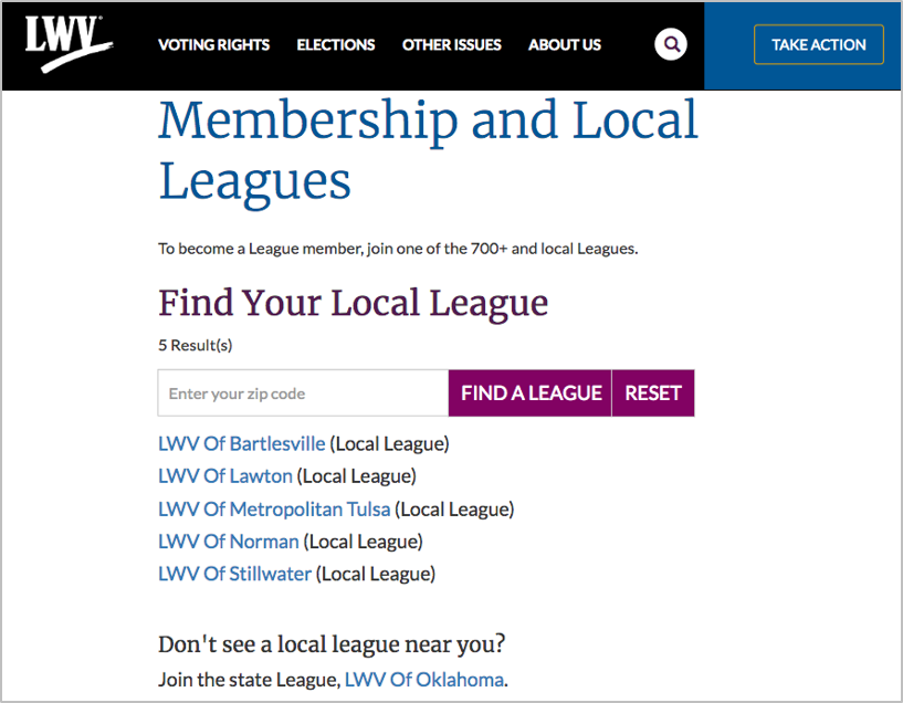 When zip code returns no results, the view displays local leagues in the same state as the zip code entered