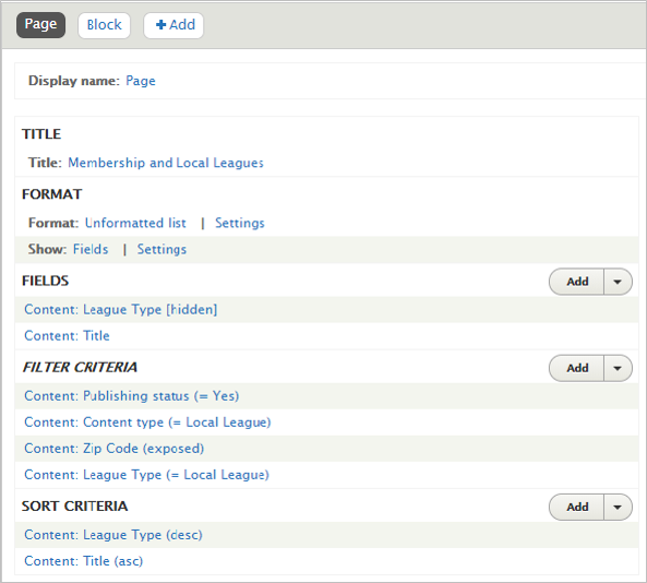 Local League page view that shows fields and filter criteria