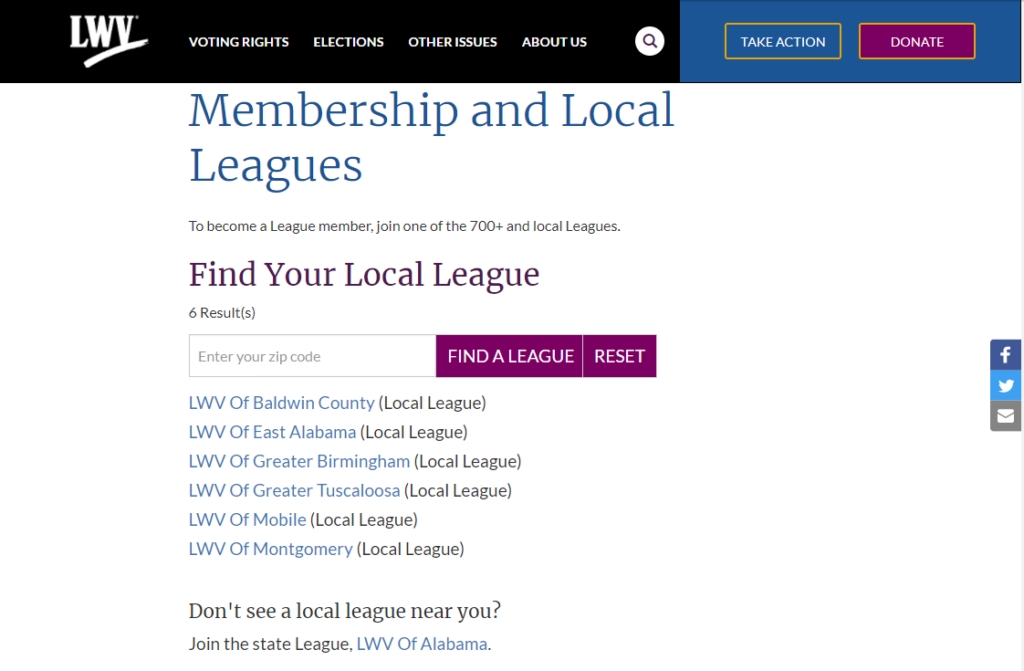 Filtered list of local leagues when state term id is included in the url