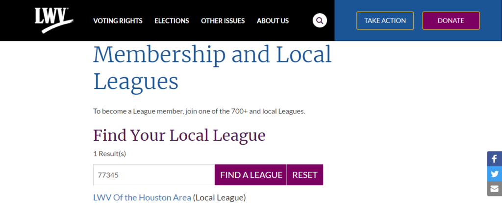 Local league found by zip code