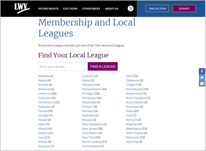 Local League Listing page by State