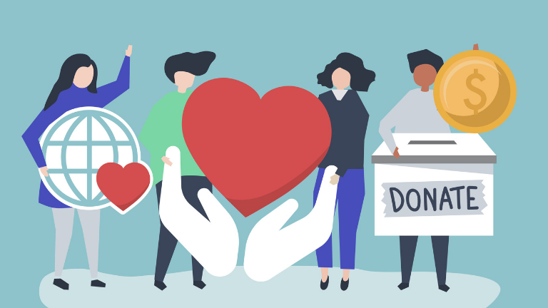 people holding donation icons